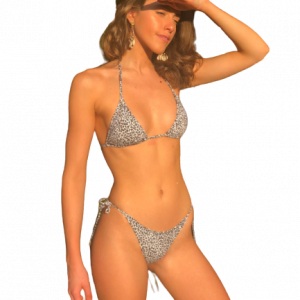 Triangel Bikini Set animal print leopard lybethras misbela brazilian beachwear micro bikini landschaft vorne
