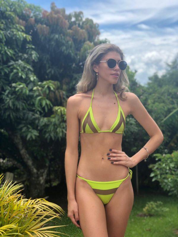 7 bikini zu verlieben bademode-neue-kollektion-sommer-2021 brazilian triangle bikini grün und braun fashion misbela brazilian bikini shop mikro bikini bademode damen swimwear lybethras vorne