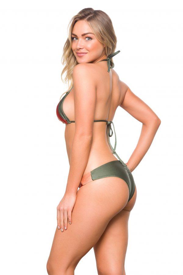 Sexy Brazilian Bikini triangel Brazilian bikini olive & Rot lybethras swimwear misbela brazilian bikini shop bademode damen aus brasilien seitlich hinten